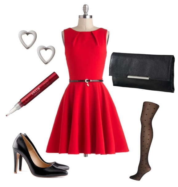 red-dress-mini-aline-earrings-heart-black-tights-black-bag-clutch-black-shoe-pumps-howtowear-valentinesday-outfit-fall-winter-dinner.jpg