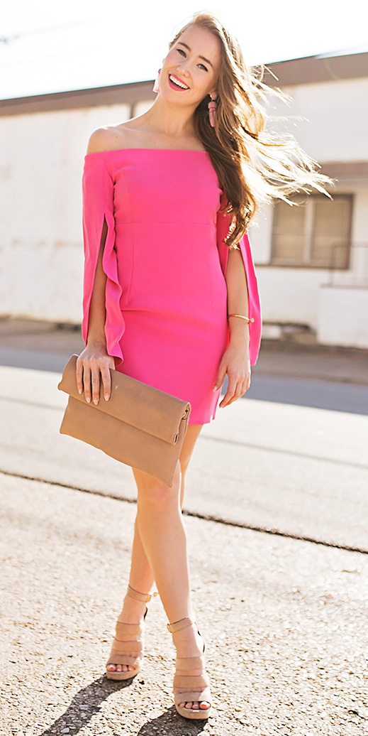 pink-magenta-dress-bodycon-mini-strapless-tan-bag-clutch-hairr-earrings-tan-shoe-sandalh-howtowear-valentinesday-outfit-fall-winter-dinner.jpg