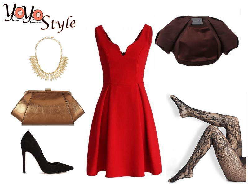 red-dress-aline-black-tights-gold-bib-necklace-tan-bag-clutch-black-shoe-pumps-howtowear-valentinesday-outfit-fall-winter-dinner.jpg