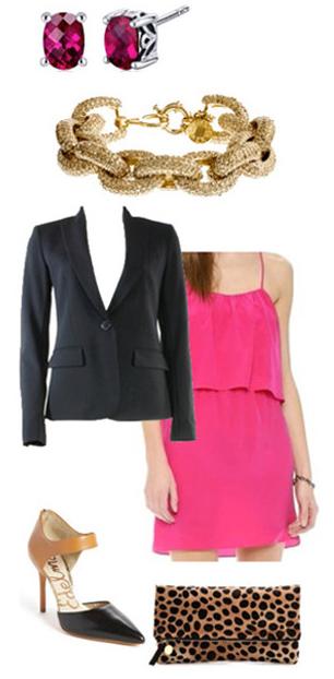 pink-magenta-dress-tank-black-jacket-blazer-bracelet-studs-leopard-print-black-shoe-pumps-howtowear-valentinesday-outfit-fall-winter-dinner.jpg