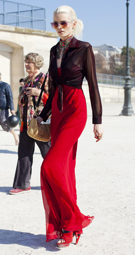 red-dress-maxi-slip-burgundy-top-blouse-sheer-sun-blonde-pony-red-shoe-sandalh-howtowear-valentinesday-outfit-fall-winter-dinner.jpg