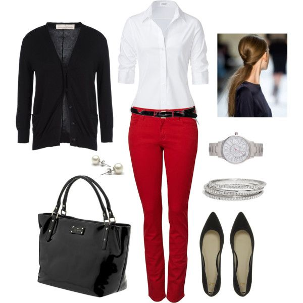 red-skinny-jeans-white-collared-shirt-pony-black-shoe-pumps-black-bag-tote-watch-belt-valentinesday-black-cardigan-fall-winter-hairr-work.jpg