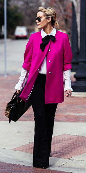 black-flare-jeans-white-collared-shirt-pink-magenta-jacket-coat-layer-blonde-sun-bun-howtowear-valentinesday-outfit-fall-winter-work.jpg