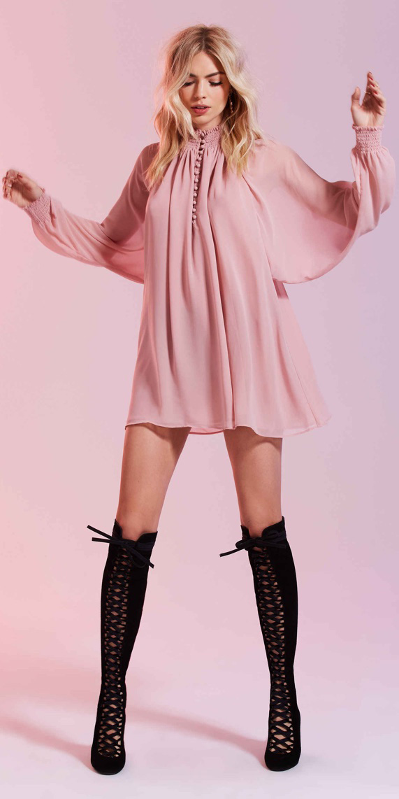 pink-light-dress-mini-peasant-black-shoe-boots-laceup-valentinesday-fall-winter-blonde-dinner.jpg