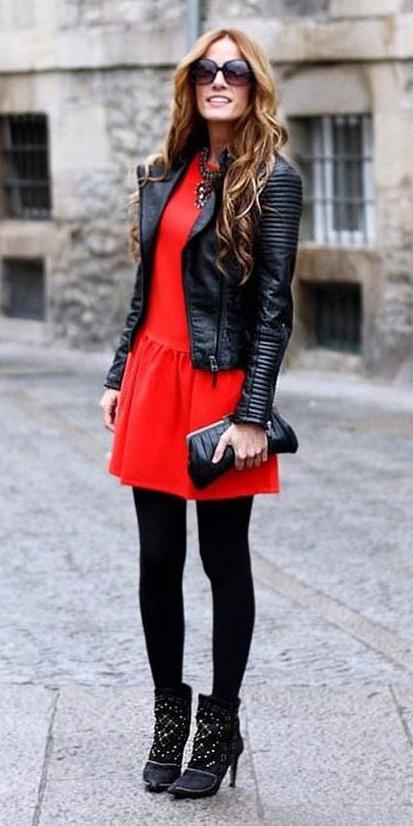 red-dress-mini-black-tights-sun-black-shoe-booties-bib-necklace-valentinesday-black-jacket-moto-fall-winter-hairr-dinner.jpg