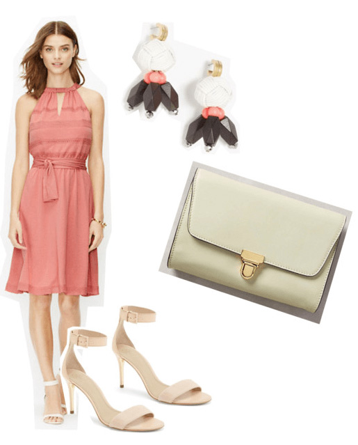 what-to-wear-for-a-summer-wedding-guest-outfit-peach-dress-aline-earrings-white-bag-dinner.jpg