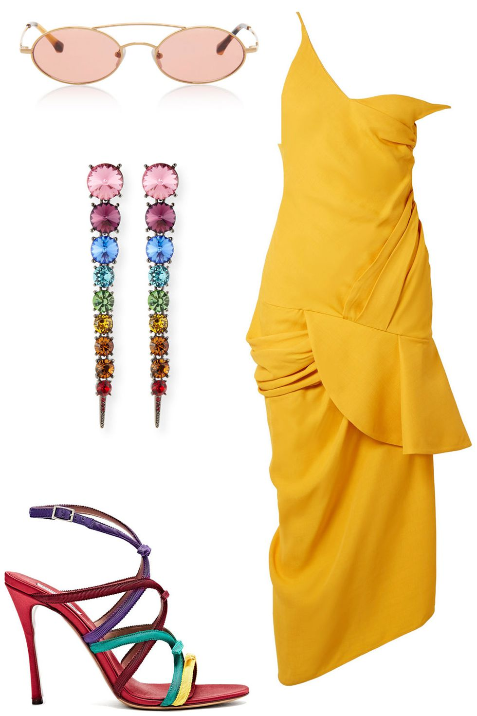 what-to-wear-for-a-summer-wedding-guest-outfit-yellow-dress-slip-earrings-rainbow-sun-red-shoe-sandalh-dinner.jpg