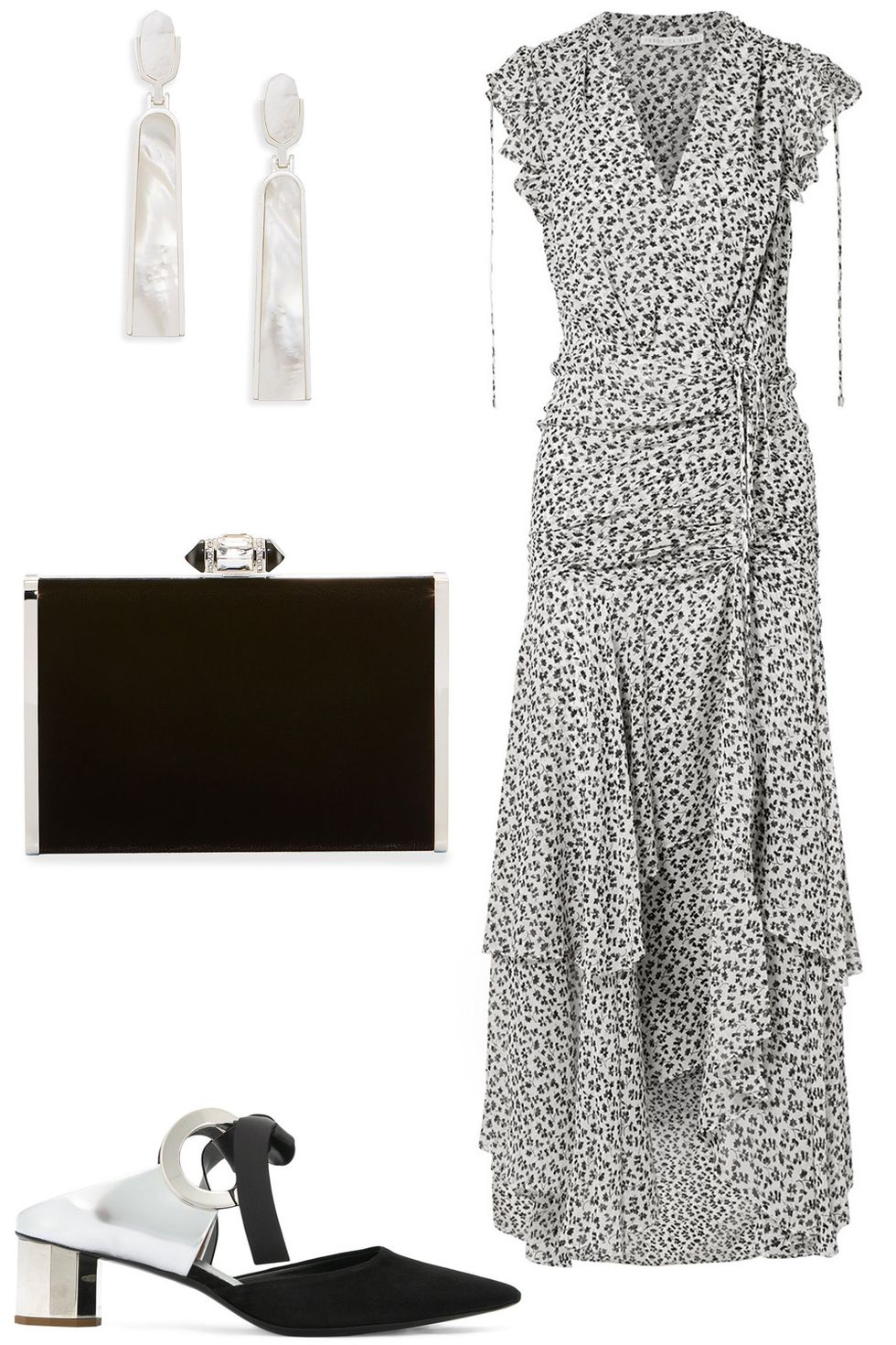 what-to-wear-for-a-summer-wedding-guest-outfit-white-dress-maxi-print-earrings-black-bag-clutch-black-shoe-pumps-ruffle-dinner.jpg