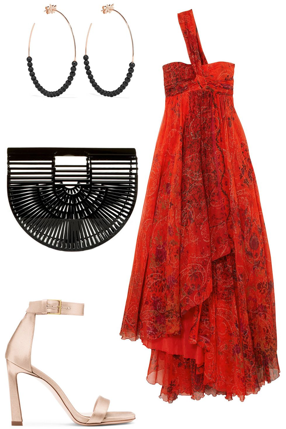 what-to-wear-for-a-summer-wedding-guest-outfit-red-dress-maxi-oneshoulder-hoops-black-bag-clutch-tan-shoe-sandalh-dinner.jpg
