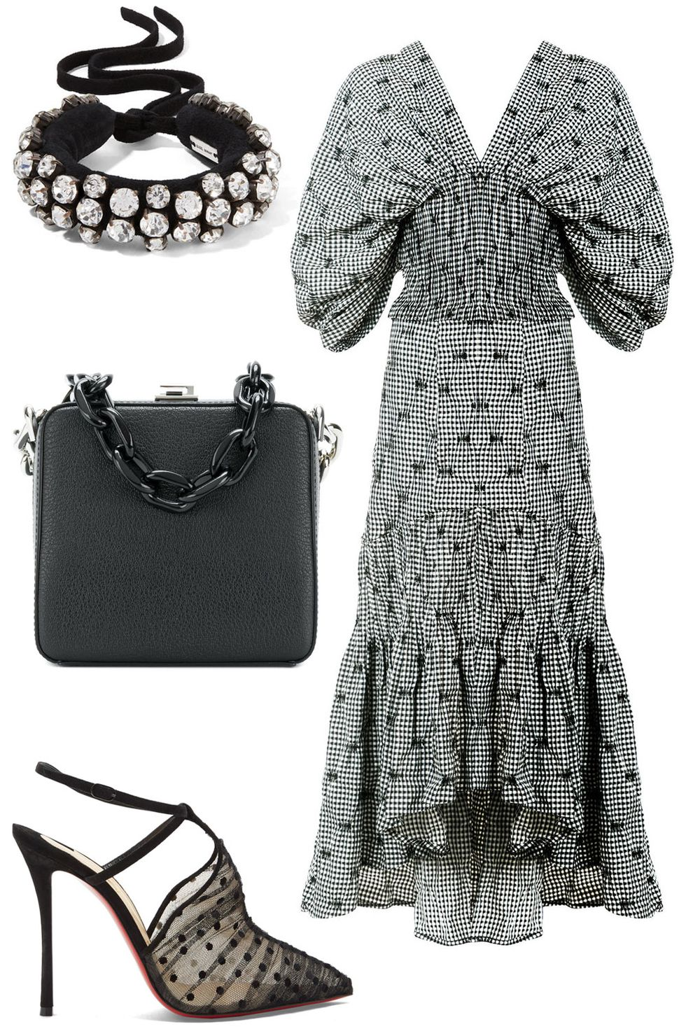 what-to-wear-for-a-summer-wedding-guest-outfit-white-dress-peasant-midi-gingham-print-black-bag-black-shoe-pumps-dinner.jpg