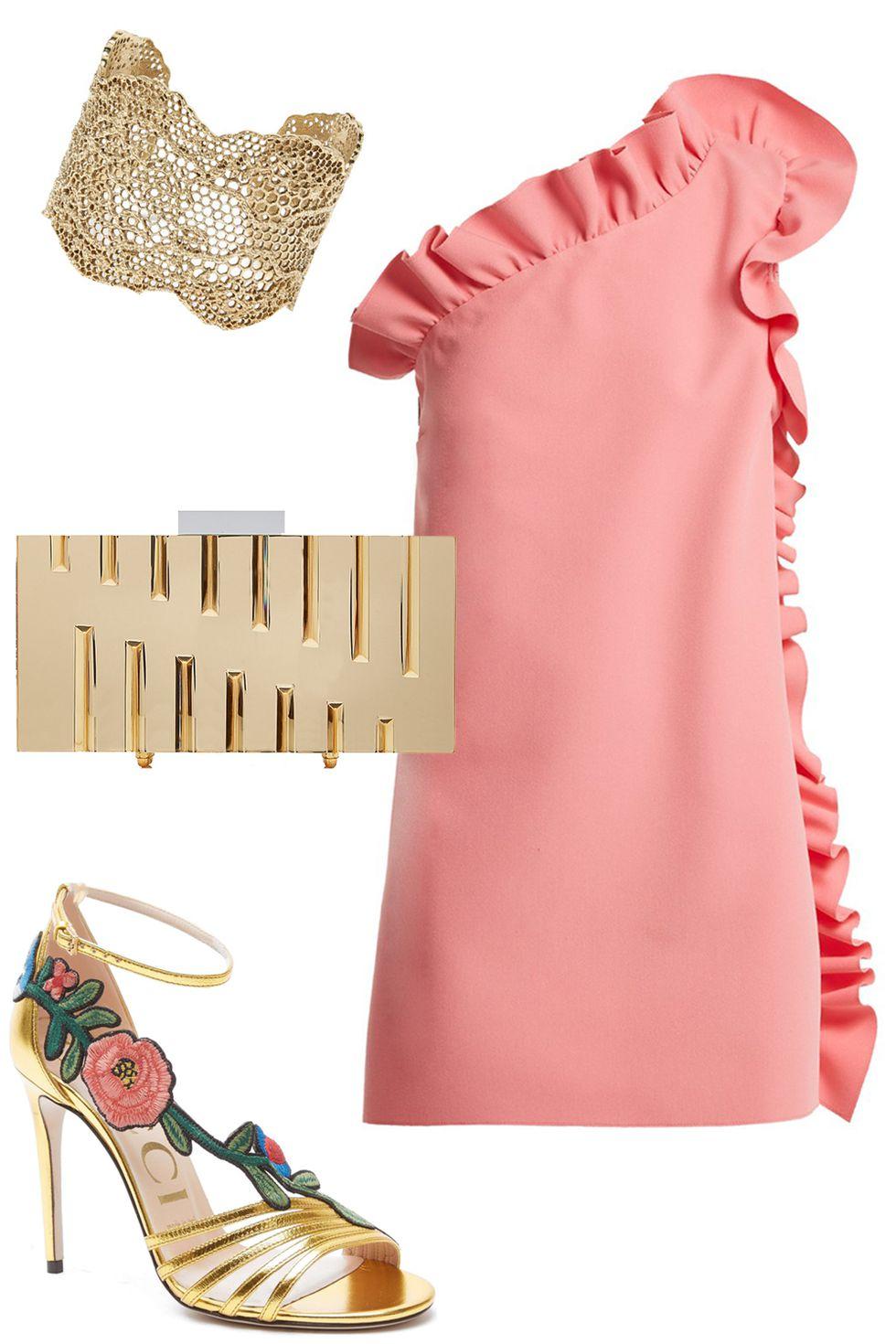 what-to-wear-for-a-summer-wedding-guest-outfit-pink-light-dress-mini-offshoulder-ruffle-tan-bag-clutch-gold-bracelet-tan-shoe-sandalh-dinner.jpg