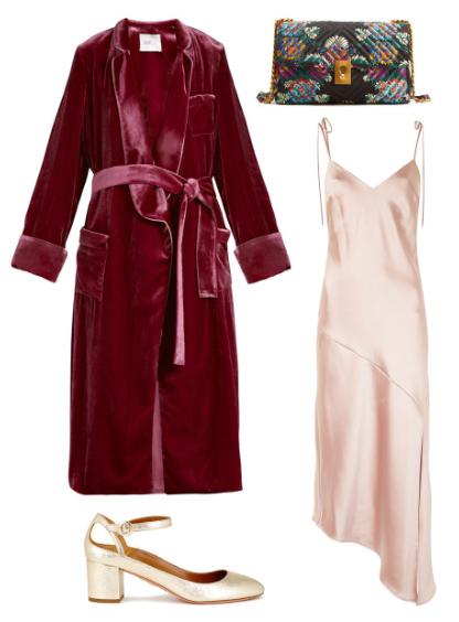 what-to-wear-for-a-summer-wedding-guest-outfit-burgundy-jacket-coat-velvet-robe-black-bag-tan-shoe-pumps-peach-dress-slip-dinner.jpg
