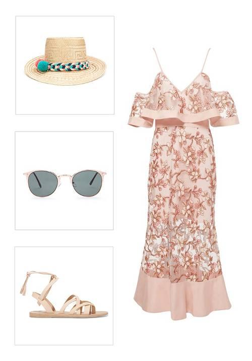 what-to-wear-for-a-summer-wedding-guest-outfit-beach-pink-light-dress-midi-offshoulder-hat-sun-tan-shoe-sandals-dinner.jpg