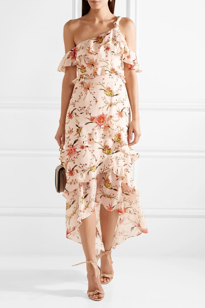 what-to-wear-for-a-summer-wedding-guest-outfit-pink-light-dress-midi-floral-print-tan-shoe-sandalh-dinner.jpg