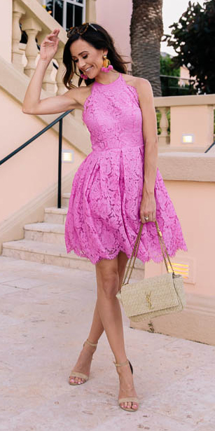 what-to-wear-for-a-summer-wedding-guest-outfit-pink-magenta-dress-mini-lace-earrings-tan-bag-tan-shoe-sandalh-dinner.jpg