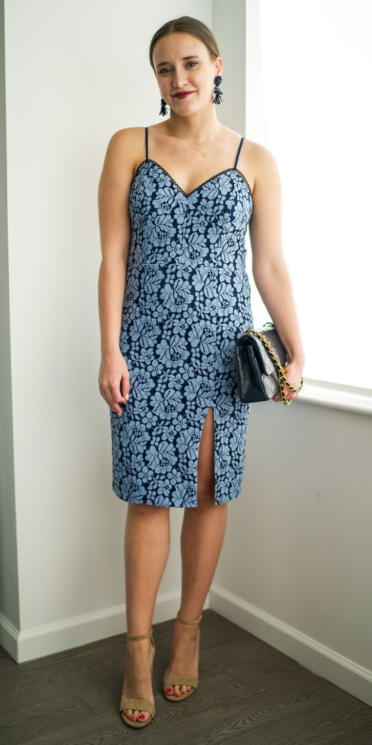what-to-wear-for-a-summer-wedding-guest-outfit-blue-light-dress-lace-bodycon-earrings-hairr-bun-black-bag-dinner.jpg
