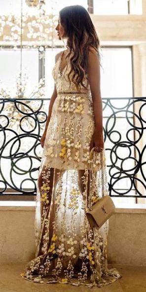 what-to-wear-for-a-summer-wedding-guest-outfit-white-dress-maxi-gown-sheer-seethrough-floral-print-hairr-tan-bag-hairr-dinner.jpg