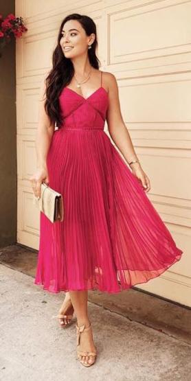 what-to-wear-for-a-summer-wedding-guest-outfit-pink-magenta-dress-midi-chiffon-tan-shoe-sandalh-tan-bag-clutch-brun-dinner.jpg