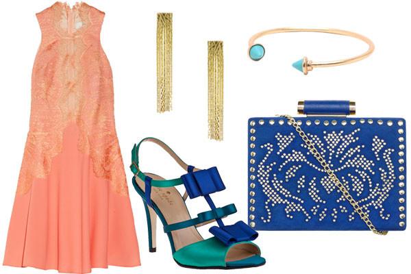 what-to-wear-for-a-summer-wedding-guest-outfit-evening-peach-dress-swing-green-shoe-sandalh-blue-bag-bracelet-earrings-dinner.jpg