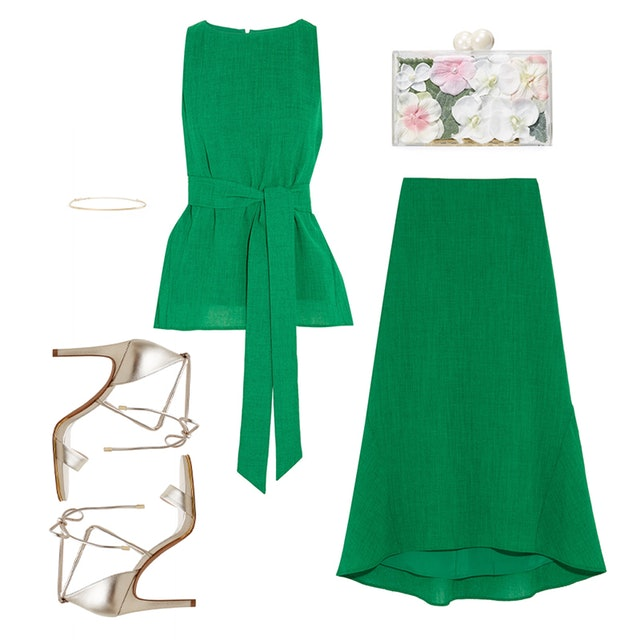 what-to-wear-for-a-summer-wedding-guest-outfit-green-emerald-midi-skirt-green-emerald-top-tan-shoe-sandalh-white-bag-clutch-dinner.jpg