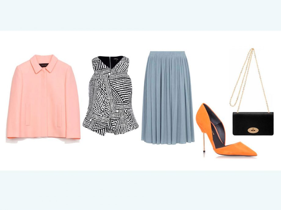 what-to-wear-for-a-summer-wedding-guest-outfit-blue-light-midi-skirt-white-top-print-orange-shoe-pumps-black-bag-peach-jacket-lady-dinner.jpg
