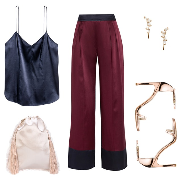what-to-wear-for-a-summer-wedding-guest-outfit-burgundy-wideleg-pants-silk-blue-navy-cami-tan-shoe-sandalh-earrings-tan-bag-gold-dinner.jpg