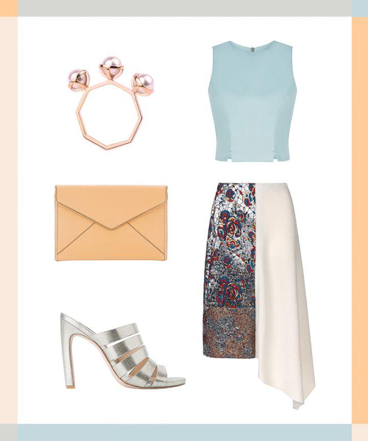 white-aline-skirt-blue-light-crop-top-gray-shoe-sandalh-silver-tan-bag-clutch-ring-weddingguest-spring-summer-dinner.jpg
