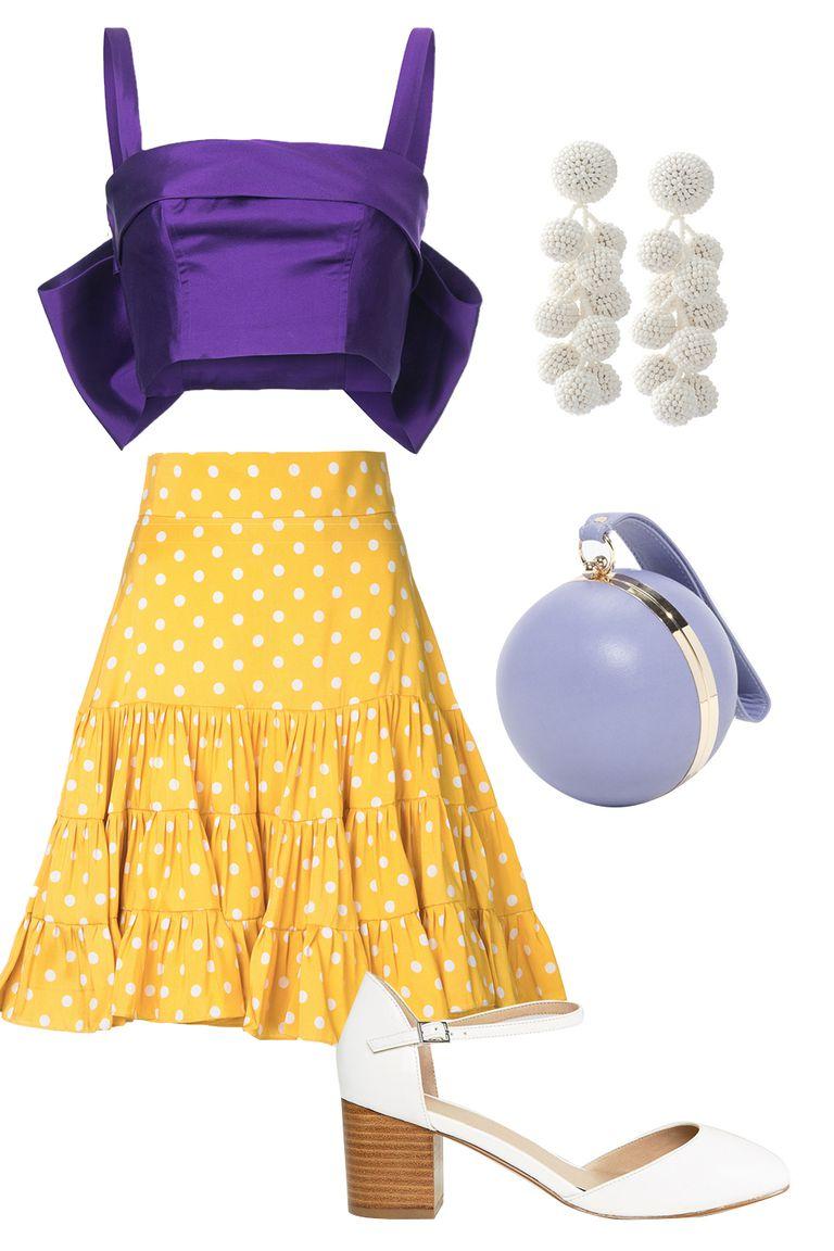 yellow-midi-skirt-dot-print-purple-royal-crop-top-offshoulder-purple-bag-earrings-white-shoe-pumps-wedding-spring-summer-dinner.jpg