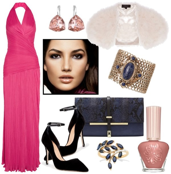what-to-wear-for-a-fall-wedding-guest-outfit-autumn-pink-magenta-dress-gown-black-shoe-pumps-maxi-earrings-blue-bag-nail-white-cardigan-dinner.jpg