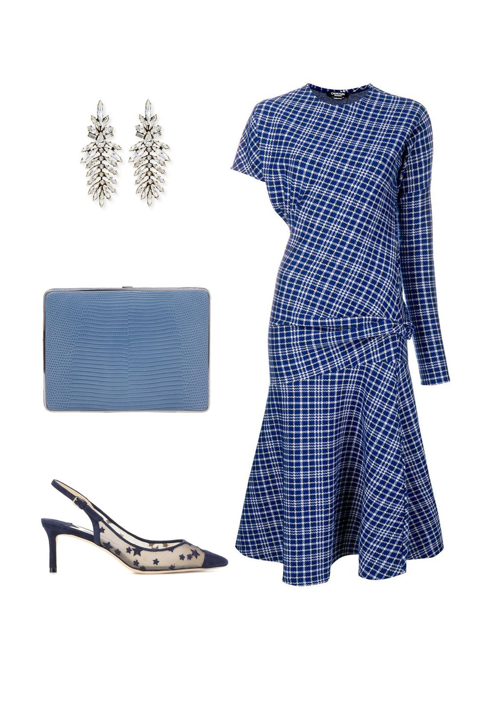 what-to-wear-for-a-fall-wedding-guest-outfit-autumn-tartan-print-plaid-blue-navy-dress-aline-earrings-blue-bag-clutch-blue-shoe-pumps-dinner.jpg