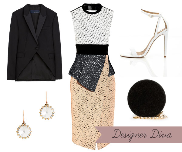 what-to-wear-for-a-winter-wedding-guest-outfit-tan-dress-bodycon-lace-black-jacket-blazer-black-bag-white-shoe-sandalh-earrings-dinner.jpg