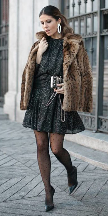 what-to-wear-for-a-winter-wedding-guest-outfit-black-dress-mini-hairr-pony-earrings-tan-jacket-coat-fur-leopard-print-black-tights-black-shoe-pumps-dinner.jpg