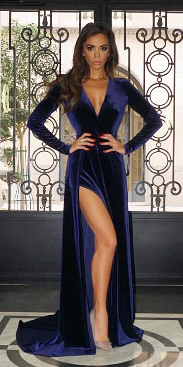 what-to-wear-for-a-winter-wedding-guest-outfit-blue-navy-dress-maxi-slit-velvet-brun-dinner.jpg
