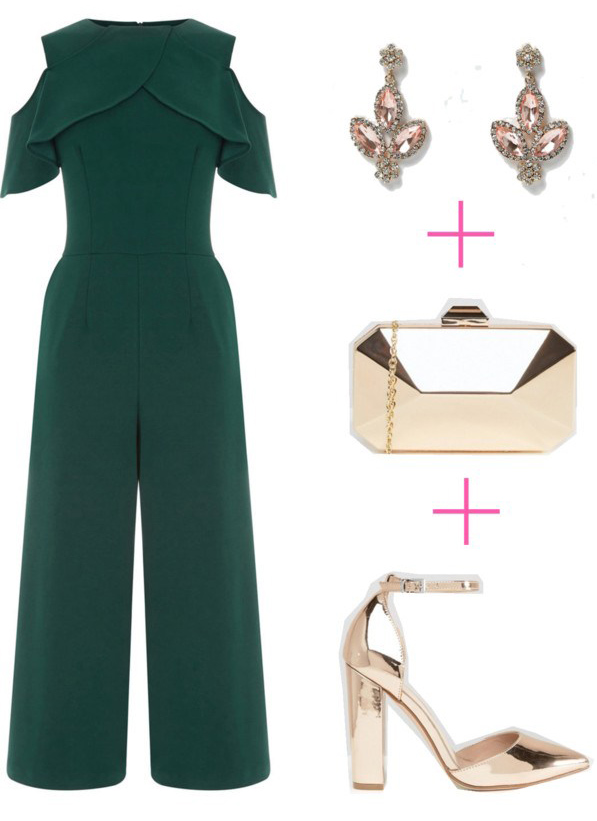 what-to-wear-for-a-winter-wedding-guest-outfit-green-dark-jumpsuit-cutout-christmas-party-earrings-tan-shoe-pumps-gold-tan-bag-clutch-dinner.jpg