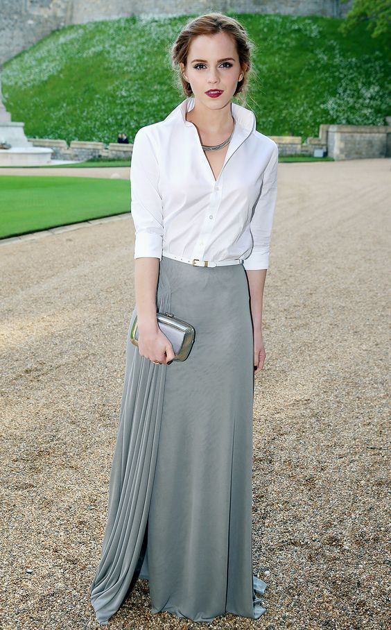 grayl-maxi-skirt-white-collared-shirt-necklace-belt-hairr-fall-winter-emmawatson-wedding-dinner.jpg