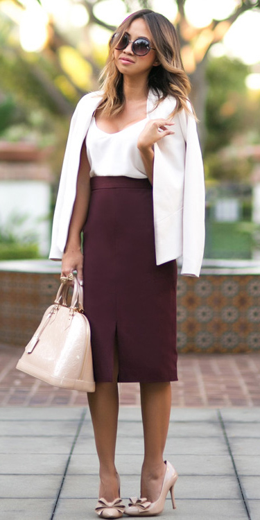 burgundy-pencil-skirt-white-cami-sun-hairr-tan-bag-tan-shoe-pumps-white-jacket-blazer-fall-winter-lunch.jpg