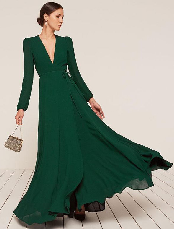 what-to-wear-for-a-fall-wedding-guest-outfit-autumn-green-dark-dress-maxi-wrap-bun-hairr-tan-bag-gold-dinner.jpg