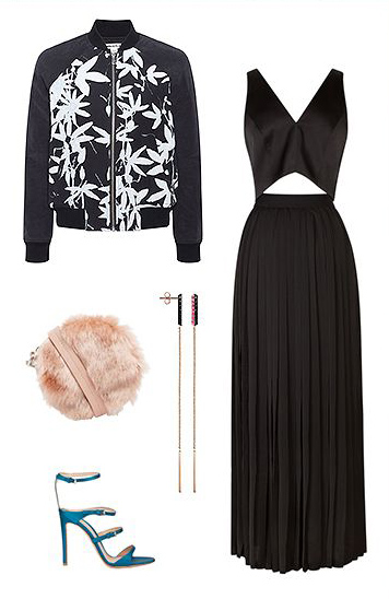 what-to-wear-for-a-winter-wedding-guest-outfit-black-dress-lbd-midi-black-jacket-bomber-peach-bag-clutch-earrings-blue-shoe-sandalh-dinner.jpg
