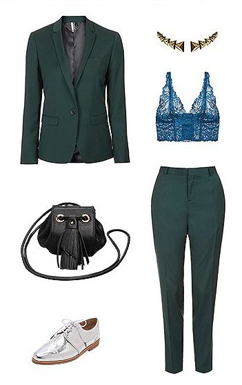 what-to-wear-for-a-winter-wedding-guest-outfit-green-dark-slim-pants-suit-blue-bralette-black-bag-gray-shoe-brogues-silver-green-dark-jacket-blazer-dinner.jpg