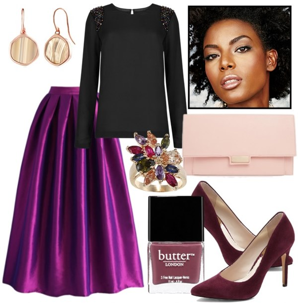 what-to-wear-for-a-fall-wedding-guest-outfit-purple-royal-midi-skirt-black-sweater-burgundy-shoe-pumps-nail-ring-pink-bag-clutch-earrings-brun-dinner.jpg