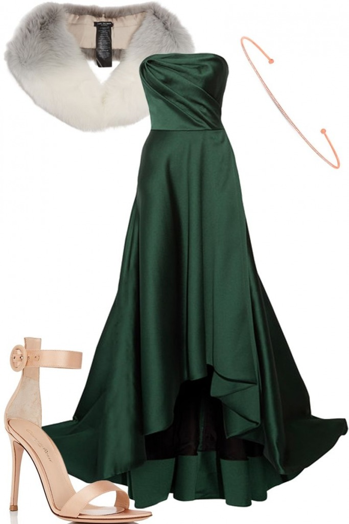what-to-wear-for-a-winter-wedding-guest-outfit-green-dark-dress-maxi-gown-strapless-tan-shoe-sandalh-white-scarf-fur-stole-necklace-dinner.jpg