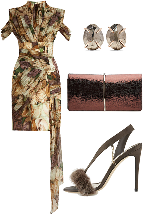 what-to-wear-for-a-winter-wedding-guest-outfit-yellow-dress-mini-print-brown-shoe-sandalh-brown-bag-clutch-studs-dinner.jpg
