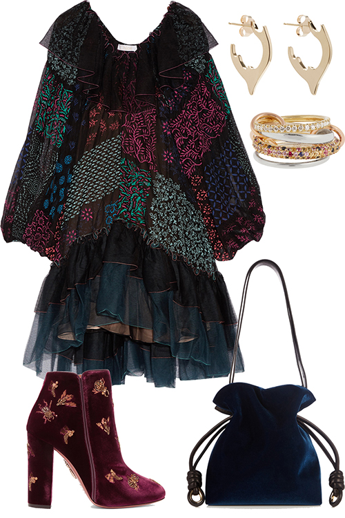 what-to-wear-for-a-winter-wedding-guest-outfit-blue-navy-dress-peasant-burgundy-shoe-booties-velvet-blue-bag-earrings-dinner.jpg
