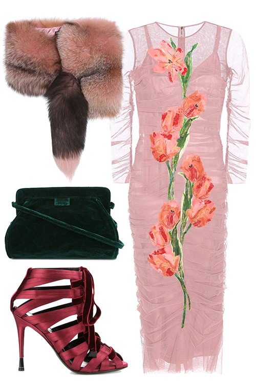 what-to-wear-for-a-winter-wedding-guest-outfit-pink-light-dress-bodycon-sheer-pink-shoe-sandalh-pink-light-scarf-fur-stole-green-bag-floral-print-dinner.jpg