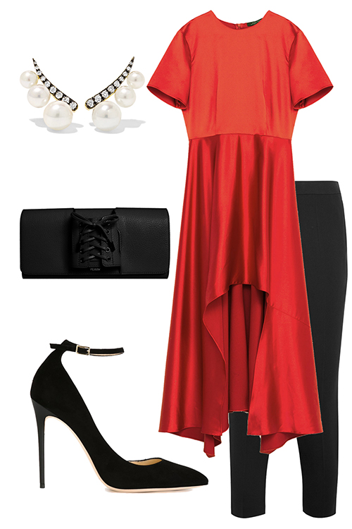 what-to-wear-for-a-winter-wedding-guest-outfit-red-top-tunic-black-slim-pants-pearl-studs-black-bag-clutch-black-shoe-pumps-dinner.jpg
