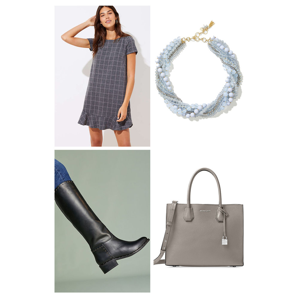 fall-autumn-outfit-work-2018-fashion-ideas-gray-windowpane-mini-flounce-dress-pearl-chunky-necklace-tote-black-knee-high-boots-office.jpg
