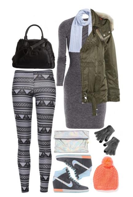 grayl-dress-sweater-grayd-leggings-fairisle-print-gloves-gray-shoe-sneakers-beanie-blue-light-scarf-green-olive-jacket-coat-parka-fall-winter-weekend.jpg