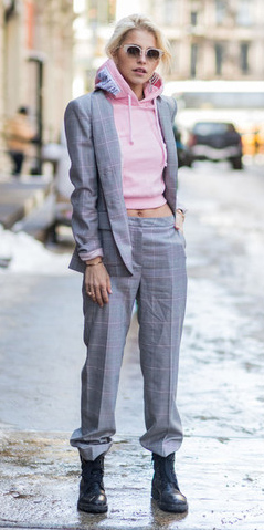 grayl-wideleg-pants-plaid-suit-pink-light-sweater-sweatshirt-hoodie-blonde-sun-grayl-jacket-blazer-black-shoe-booties-fall-winter-weekend.jpg