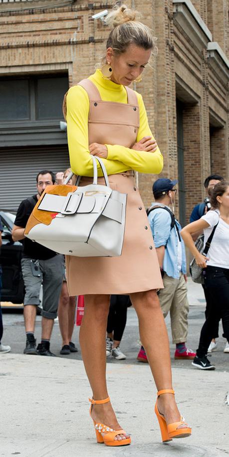 tan-dress-jumper-layer-yellow-sweater-turtleneck-white-bag-tote-orange-shoe-sandalh-bun-spring-summer-blonde-work.jpg