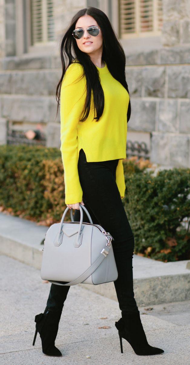 black-skinny-jeans-black-shoe-booties-yellow-sweater-gray-bag-sun-fall-winter-brun-lunch.jpg